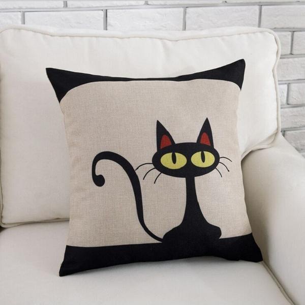 Picture of Bedding Linen Cotton Pillowcase Cute Black Cat Pillow Covers Size 4545cm Home Sofa Accessory Size 90 G Color White