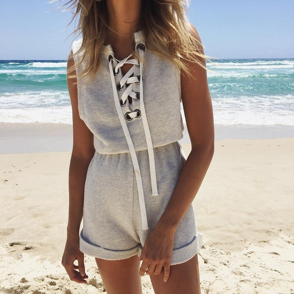 Picture of Summer Beachwear Casual Jumpsuit And Bodysuit Cross Bandage Neack Overalls Women Short Rompers
