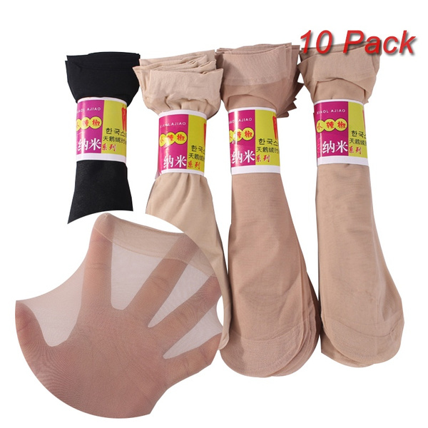 Amazing 10 Pairs Womens Short Sock Thin Transparent Crystal Silk Socks Women Lady Girl Summer Black Khaki Pure Color