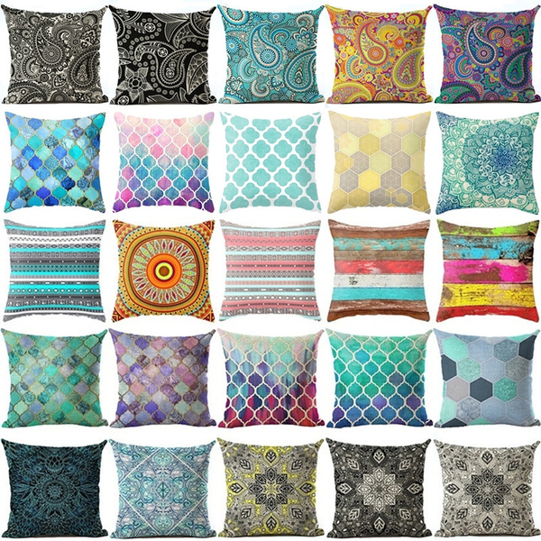 Picture of 18 Inches Bohemia Geometric Cotton Linen Square Pillow Cases Throw Pillow Cushion Cover