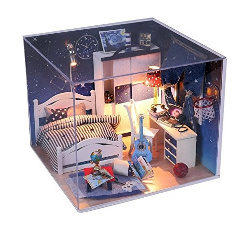 Rylai Wooden Handmade Dollhouse Miniature Diy Kit For Girls Go Watch The Meteor Shower Series Diy Assembling Model 3d Puzzle Home Decor Display