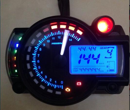 New Backlight LCD Digital Motorcycle Speedometer Odometer Motor Bike  Tachometer Universal