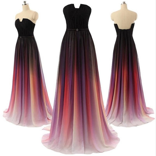 Ombre Chiffon Prom Dress Evening