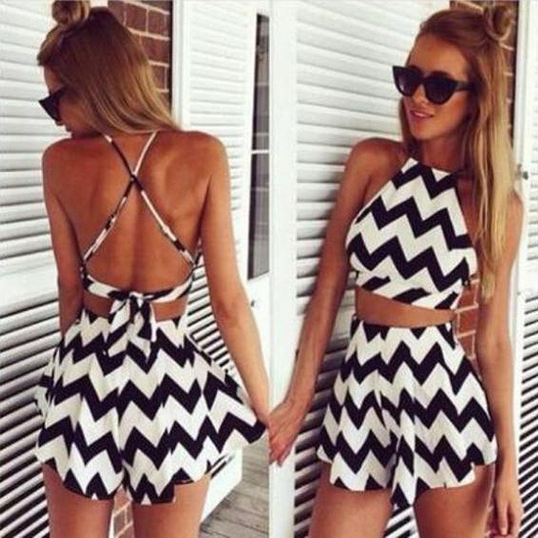 Picture of Women Two Piece Set Print Wave Striped Sleeveless Tops+short Skirts