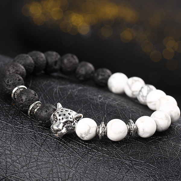 Picture of Natural Stone Animal Bracelet Silver Plated Women Men Summer Sport Unique Popular Leisure Personality Handmade Accessories Color White
