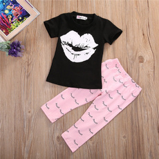 Newborn Infant Kids Baby Girls Lip T-shirt +Pants Outfits Clothes Set