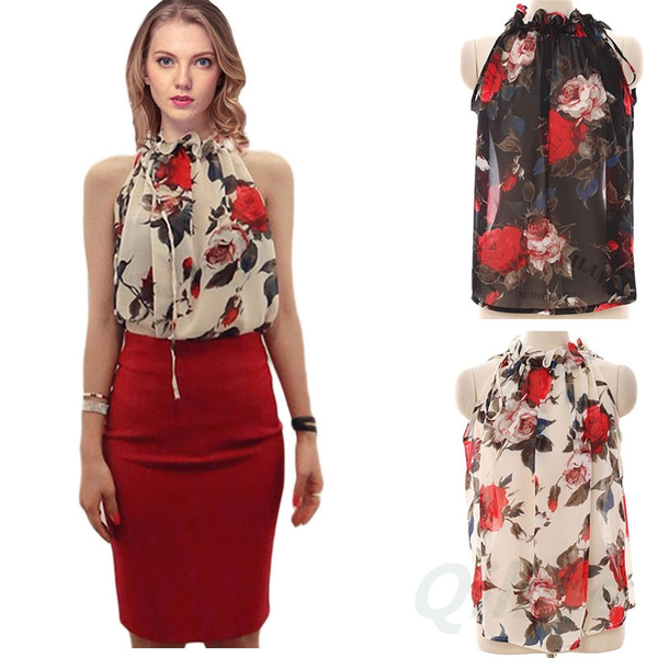 Picture of Sexy Women Chiffon Sleeveless High Ruffle Neck Floral Pleated Shirt Tops Blouse