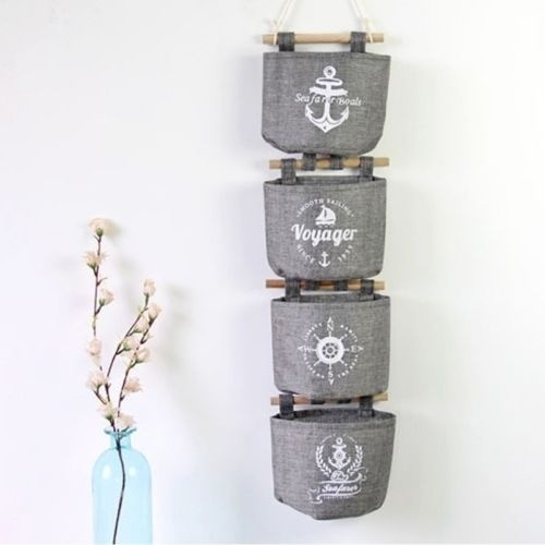 Picture of 1pc Practical Cotton Linen Navy Style Grey Wall Hanging Storage Organizer Hanger Bag