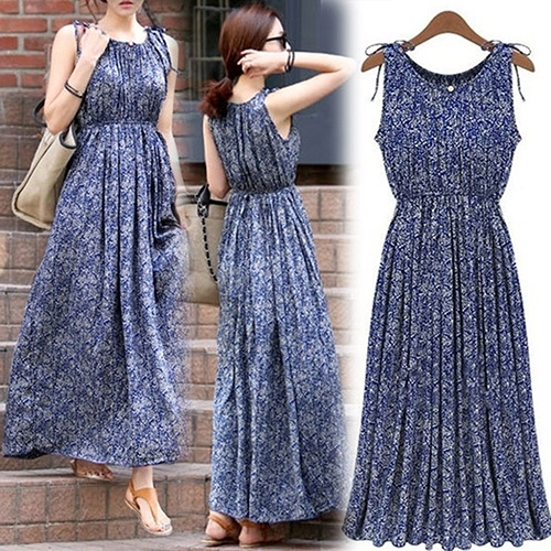Picture of Casual Round Neck Boho Floral Sleeveless Long Dress Summer Maxi Evening Party Skirt For Lady
