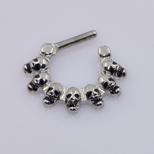 1pc Linked Skulls Septum Clicker 316L Surgical Steel 16g Nose Ring