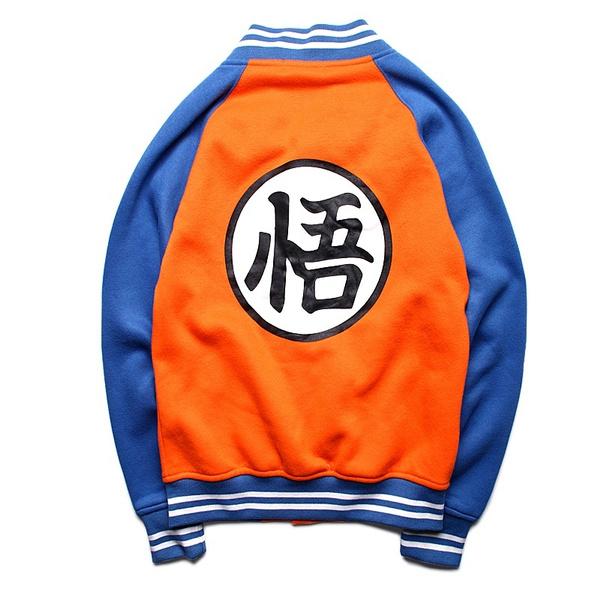 Wish Jogal Mens Dragon Ball Z Goku Kame Symbol Baseball Jacket