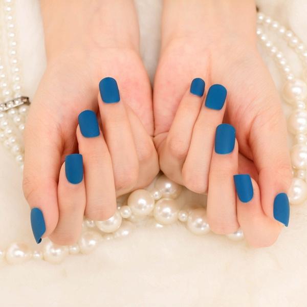 Wish   24pcs Elegant Matte Blue False Nails Set French Cute Acrylic ...
