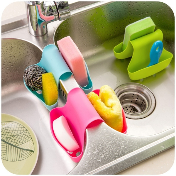 Picture of Double Sink Caddy Saddle Style Kitchen Organizer Storage Sponge Holder Rack Tool Wd
