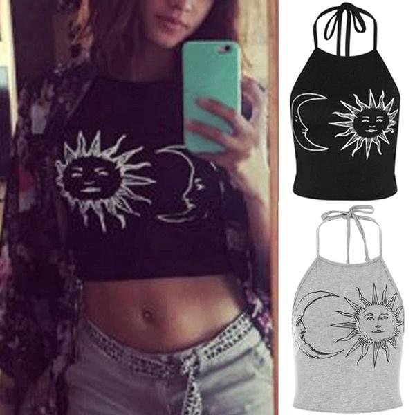 Picture of Sun Moon Print Halter Neck Tied Crop Vest Top T-shirt Cotton Blouses