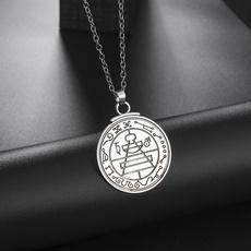 wiccan, Chain Necklace, talismannecklace, pentaclenecklace