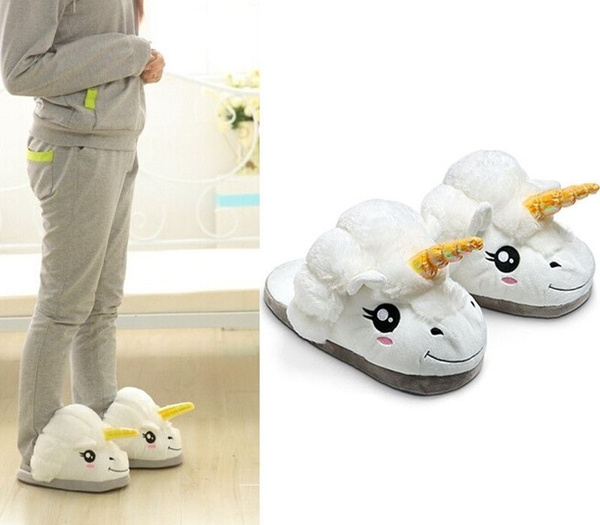 Picture of Men Women Plush Cute Unicorn Slippers Winter Warm Soft Home Indoor Shoes Color White