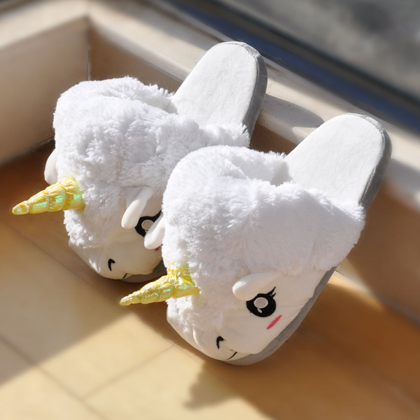 Picture of Fashion Fantasy White Unicorn Plush Cotton Slippers Slip On Size Creative Color White
