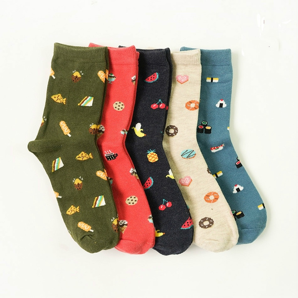 New Fashion Korean Creative Cartoon Life Food Sushi Watermelon Male and Female Short Tube Cotton Socks