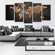 Fine Art Old World Map 1set of 5pcs Canvas Painting Modern Abstract Wall Art Decor Oil Picture on Canvas for Home Living Room Stickers