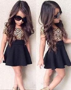 baby girls leopard short sleeve shirt one-piece dress mini skirt