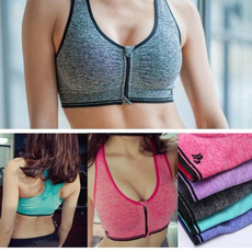 Women's Zip Sports Bra Wirefree Yoga Bras Tank Top Zip Shakeproof High Intensity Push Up