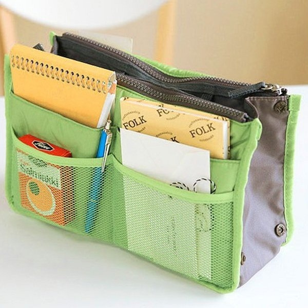 Practical Handbag Purse Nylon Dual Organizer Insert Cosmetic Storage Bag