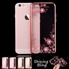 Luxury Flora Diamond Case for Apple iPhone 7 6 /6S 6 Plus /6S Plus iPhone 5 5S SE Chic Flower Bling soft TPU Ultra Thin Clear Phone Back Cover for Samsung Galaxy S5/S6/S6 edge/S6 edge Plus/S7/S7 edge/Note 3/Note 4/Note 5