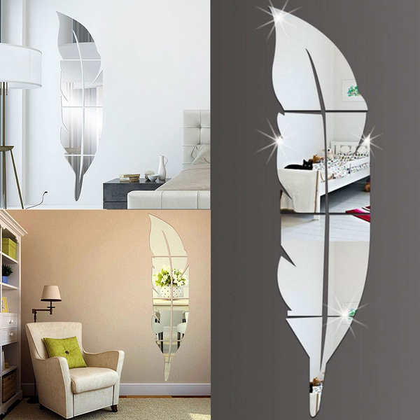 Perfect DIY Modern Feather Acrylic Mirror Wall Stickers Room Decal Decoration | Wish