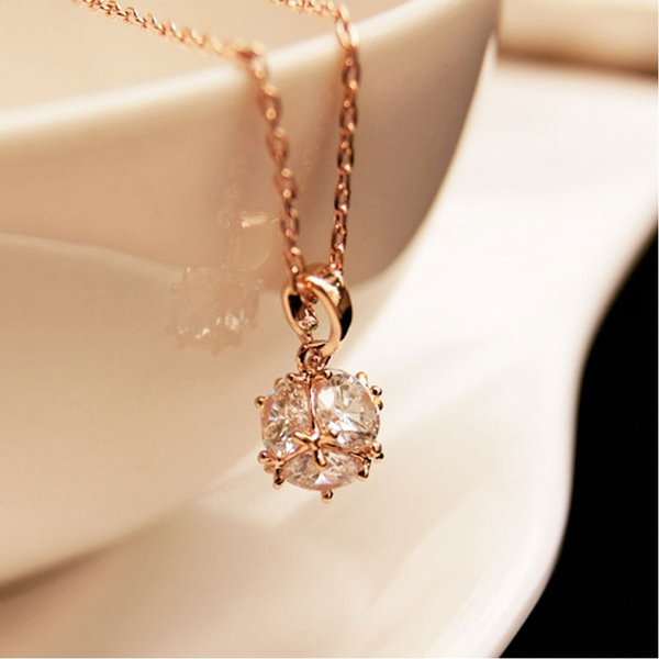 Butterfly Diamond Ball Necklace 14k Rose Gold Pendant Chain For Girls Women Wish