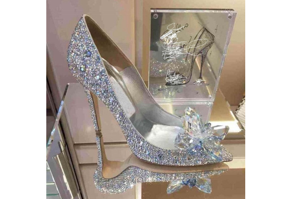 Fashion Cinderella Slipper Wedding Shoes Heels with Fine Diamond Shoes