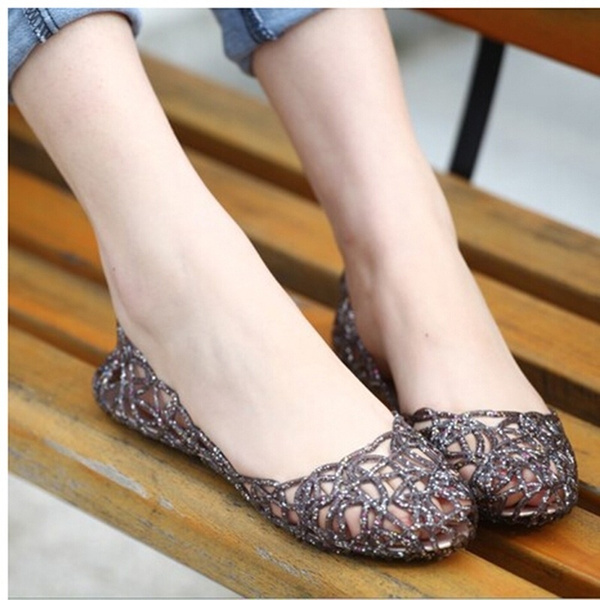 Picture of Summer Crystal Plastic Jelly Shoes Breathable Shoes Out Flat Heel Bird Nest Mesh Female Sandals