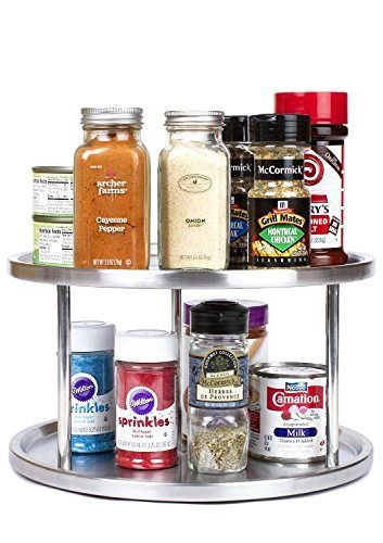 Wish | Kitchen Pantry Organizer Stainless Steel 2 Tier Lazy Susan Turntable  Spices Tray