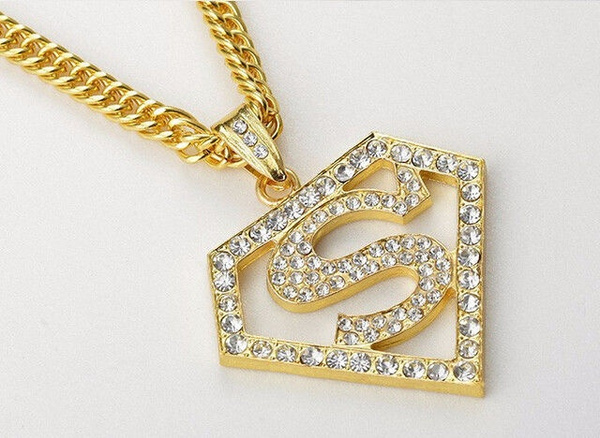 Wish gold silver plated mens jewelry superman pendant necklace wish gold silver plated mens jewelry superman pendant necklace hiphop crystal charms mozeypictures Gallery