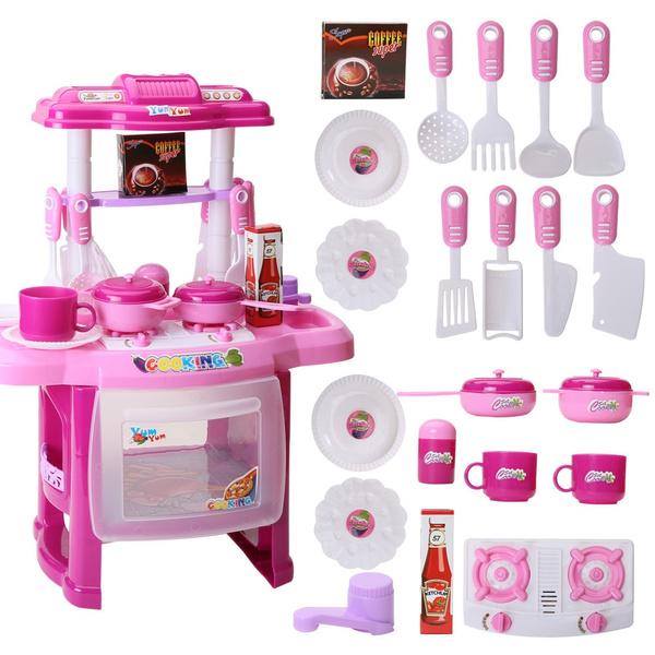 Výsledok vyhľadávania obrázkov pre dopyt Kids Kitchen Cooking Pretend Role Play Toy Set with Light Sound Effect - Gifts