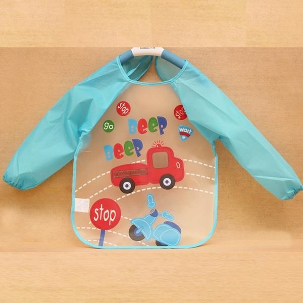 Cute Baby Toddler Waterproof Long Sleeve Kids Feeding Art Smock Bib Apron