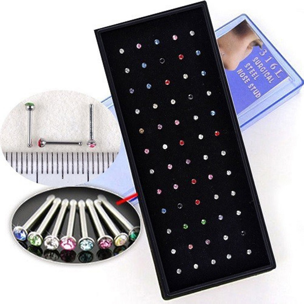 40x Imitated Crystal Rhinestone Stainless Steel Nose Ring Bone Stud Body Piercing Jewelry Honey