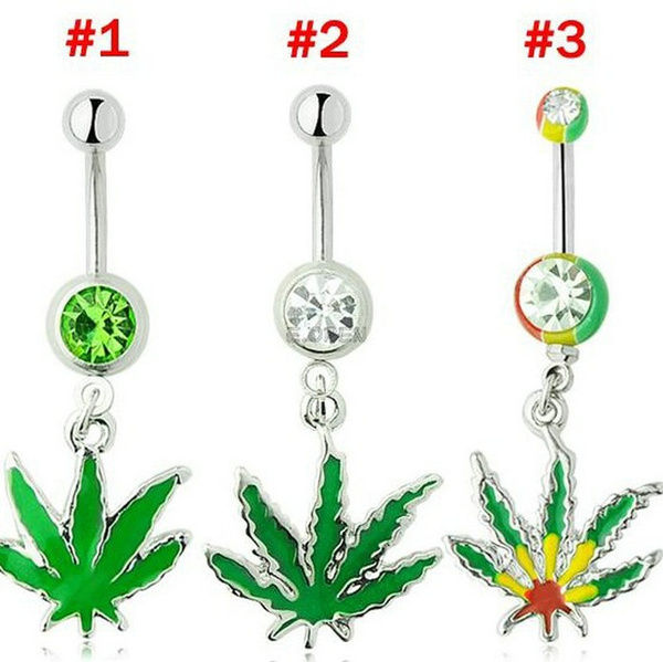 420 Piercing Dangle Belly Ring Navel Piercing Jamaican Rasta 420 Pot Belly Ring Navel Button Piercing Rings 1pc Lot