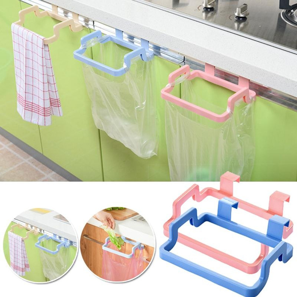 Picture of Practical Plastic Garbage Bag Bracket Towel Rack Bathroom Kitchen Cabinet Towel Rack 4 Colors