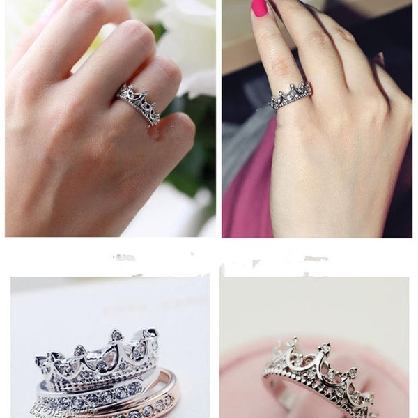 Sterling Silver Filled Zirconia CZ Queen Crown Princess Wedding Ring Valentine's Gift