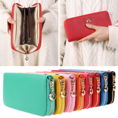 Women Synthetic Leather Solid Purse Cards Holder Long Clutch Wallet with Wrist Strap Bag