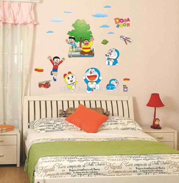 wish | great popular cartoon doraemon pattern wallpaper wall sticker