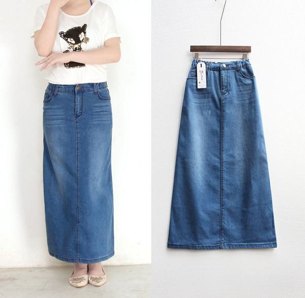 689fb64e479 Women Long Denim Skirt Casual Plus Size Maxi Skirts Blue Color Vintage Jeans  Pencil Skirts   Wish
