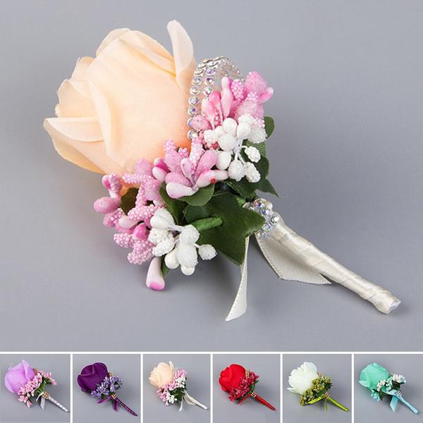Picture of Wedding Rose Corsages Elegant Brooch Groomsman Flower