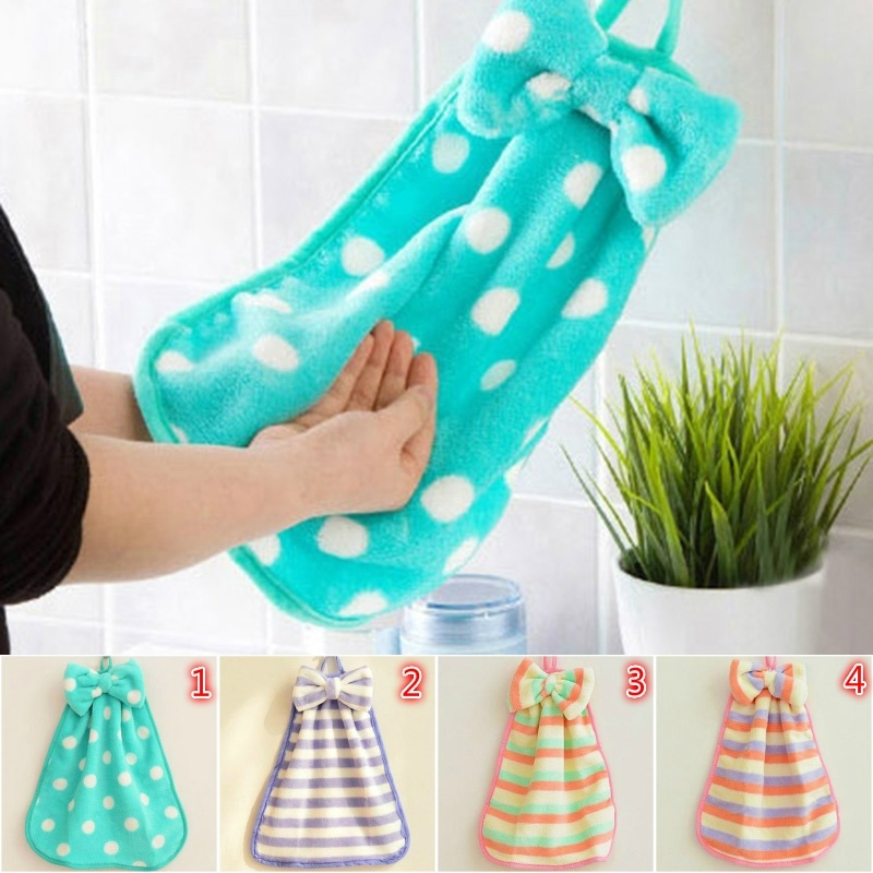 Picture of 1pc Cute Bow Coral Fleece Towel Washcloth Hand Washing Towel Thicken Kitchen Soft Towel Bathroom Dot Pattern