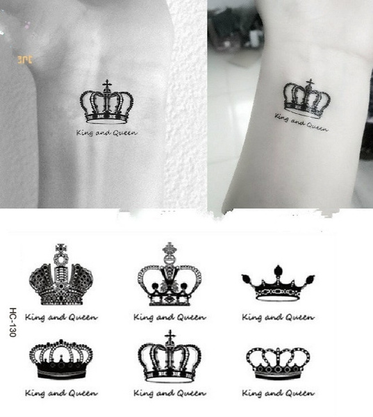 Crown Pattern Temporary Tattoos Arm And Wrist Women Men Style Disposable Waterproof Flash Tattoo