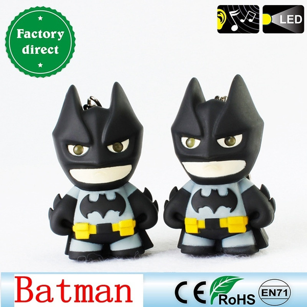 New arrive Batman keychain Led keychain with sound, Flashlight keychain figure keyrings Cool batman keychain