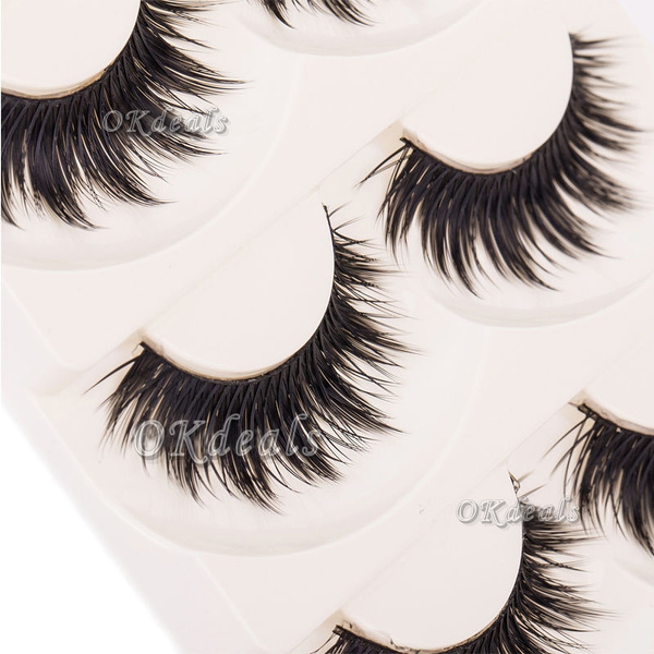 Picture of 5 Pairs Makeup Thick Soft Natural Black Eye Lashes Extension Handmade False Eyelashes