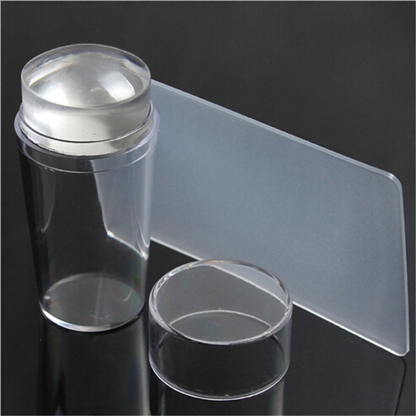 New Design Pure Clear Jelly Silicone Nail Art Stamper Scraper with Cap Transparent 2.8cm Nail Stamp Stamping Tools