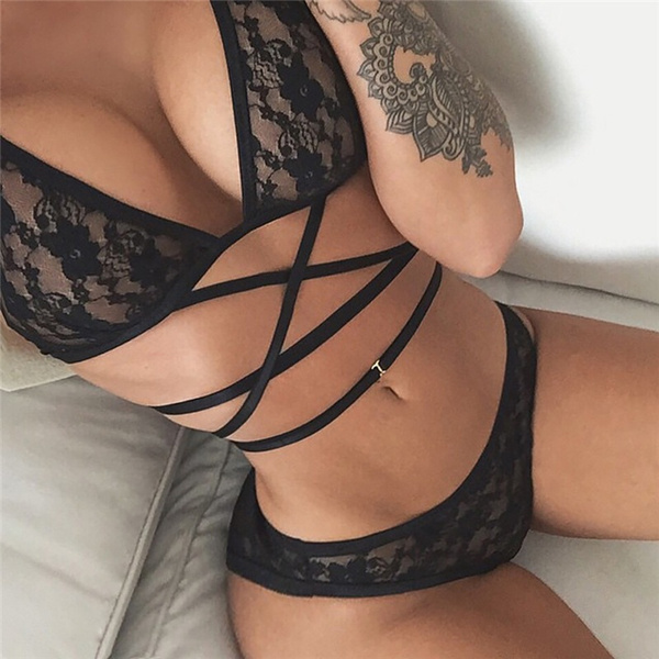 Summer Sexy Women Black Lace Up Bikini SetZMZ