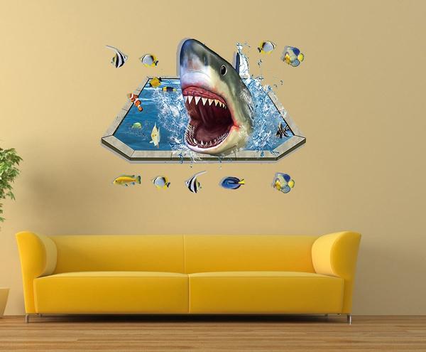 Wish | 3D Shark Fish Animal Wall Decals Living Room Bedroom ...